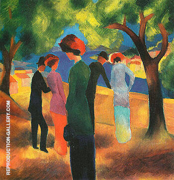 Lady in Green Jacket 1913 By August Macke - Oil Paintings & Art Reproductions - Reproduction Gallery