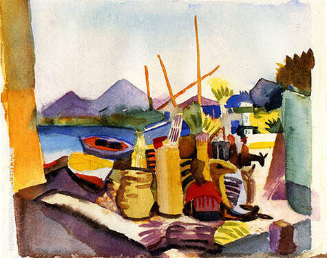 Landscape near Hammamet 1914 By August Macke - Oil Paintings & Art Reproductions - Reproduction Gallery