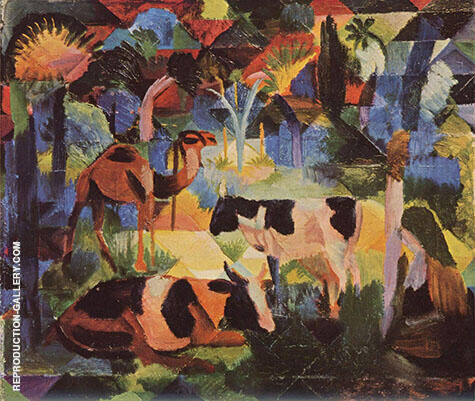 Reproduction of Landscape with Cows and Camel 1914 by August Macke | Oil Painting Replica On CanvasReproduction Gallery