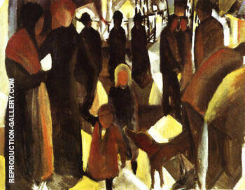 Leave Taking 1914 By August Macke - Oil Paintings & Art Reproductions - Reproduction Gallery