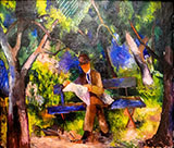 Man Reading in a Park 1914 By August Macke