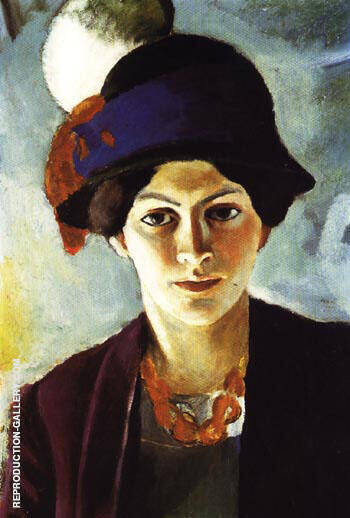 Portrait of The Artists Wife with Hat 1909 By August Macke