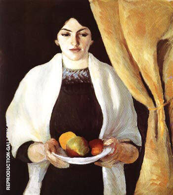 Portrait with Apples Wife of the Artist 1909 By August Macke