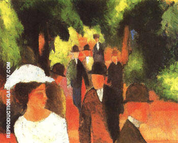 Promenade with Half Length of Girl in White 1914 By August Macke