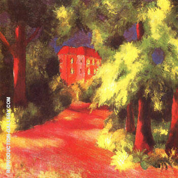 Reproduction of Red House in Park 1914 by August Macke | Oil Painting Replica On CanvasReproduction Gallery