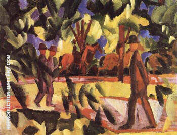 Riders and Strollers in the Avenue 1914 By August Macke