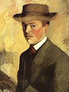 Self Portrait with Hat 1909 By August Macke