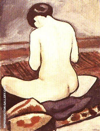 Sitting Nude with Cushions 1911 By August Macke