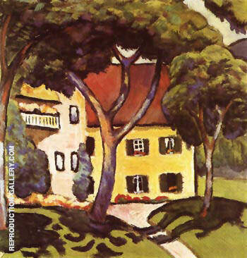 Reproduction of Staudachers House at Tegernsee 1910 by August Macke | Oil Painting Replica On CanvasReproduction Gallery