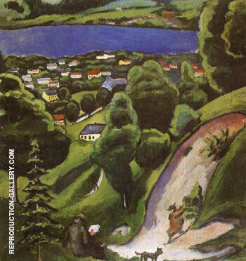 Tegernsee Landscape with Man Reading and Dog 1910 By August Macke