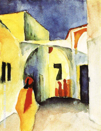 View of an Alley 1914 By August Macke - Oil Paintings & Art Reproductions - Reproduction Gallery