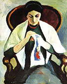 Woman Embroidering in an Armchair 1909 By August Macke