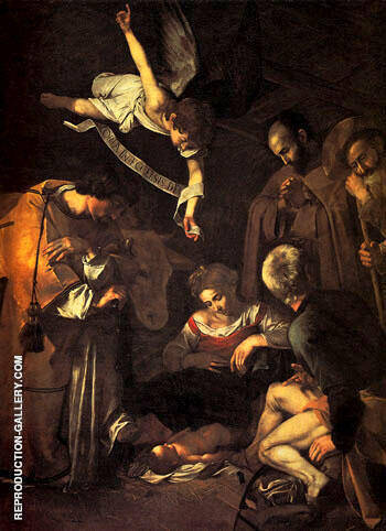 Nativity with Saints Francis & Lawrence (stolen) 1609 By Caravaggio Replica Paintings on Canvas - Reproduction Gallery
