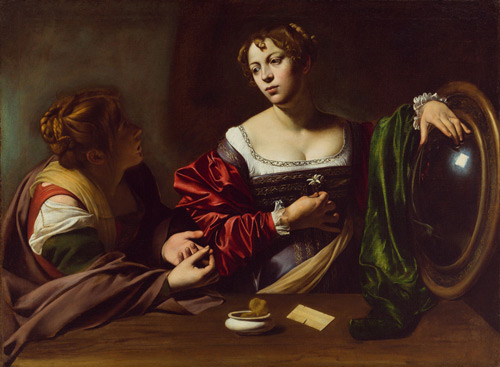 Martha and Mary Magdalene c1598 by Caravaggio   Oil Painting Reproduction Replica On Canvas - Reproduction Gallery