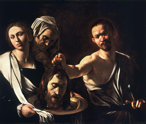 Salome with The Head of St John The Baptist c.1609-10 by Caravaggio | Oil Painting Reproduction Replica On Canvas - Reproduction Gallery