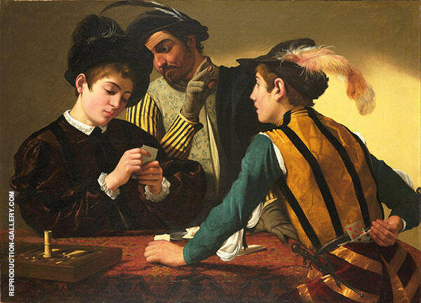 The Cardsharps c1594 Painting By Caravaggio - Reproduction Gallery