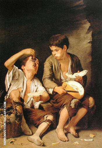 Boys Eating Fruit Grape and Melon Eaters 1645 By Bartolome Esteban Murillo