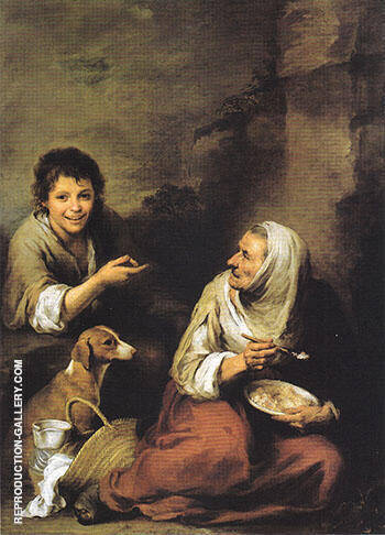 Urchin Mocking an Old Woman Eating Polenta By Bartolome Esteban Murillo - Oil Paintings & Art Reproductions - Reproduction Gallery