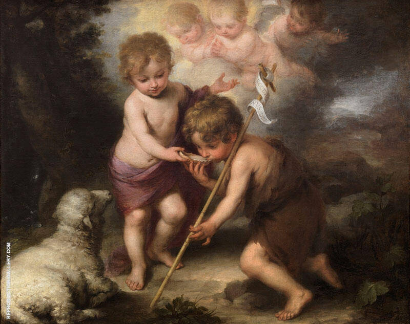 The Holy Children with a Shell (Infant Christ Offering a Drink of Water to St John) 1675-1680 Painting By ...
