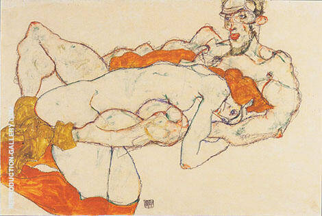 Reproduction of Lovers 1913 by Egon Schiele | Oil Painting Replica On CanvasReproduction Gallery