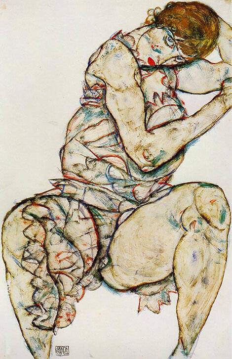 Seated Woman with Her Left Hand in Her Hair 1914 By Egon Schiele