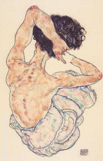 Sitzender Halbakt 1914 2 By Egon Schiele - Oil Paintings & Art Reproductions - Reproduction Gallery