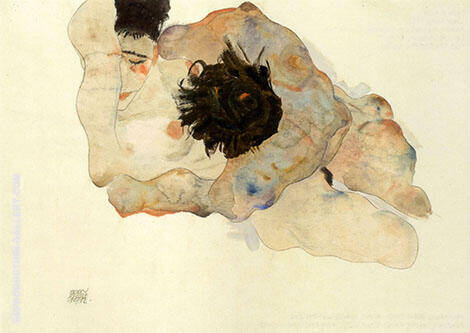 Umarmung 1912 By Egon Schiele - Oil Paintings & Art Reproductions - Reproduction Gallery