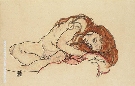 Nude Girl with Lowered 1918 By Egon Schiele