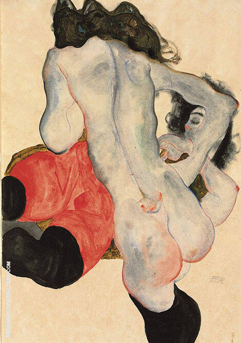 Liegen Frau mit der roten Hose und Weiblicher Akt 1913 By Egon Schiele Replica Paintings on Canvas - Reproduction Gallery