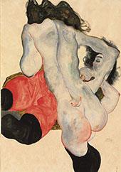Liegen Frau mit der roten Hose und Weiblicher Akt 1913 By Egon Schiele