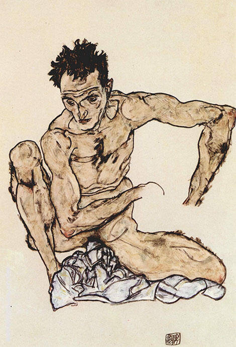 Autoportrait Painting By Egon Schiele - Reproduction Gallery