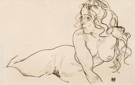 Sich Aufstutzender Weiblicher Akt mit Langem Haar 1918 By Egon Schiele