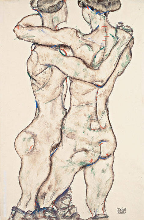 Naked Girls Embracing 1914 By Egon Schiele