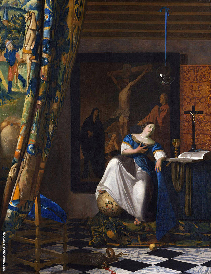 Allegory of Faith c1671 By Johannes Vermeer Replica Paintings on Canvas - Reproduction Gallery