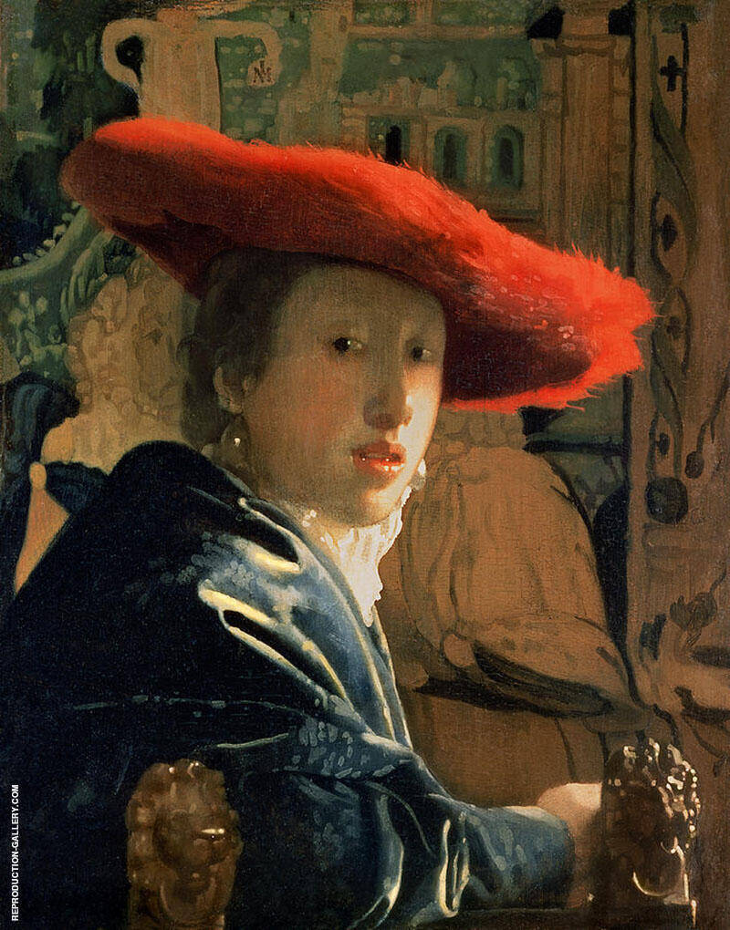 Girl with a Red Hat c1665 By Johannes Vermeer