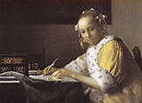 A Lady Writing Detail c1665 By Johannes Vermeer