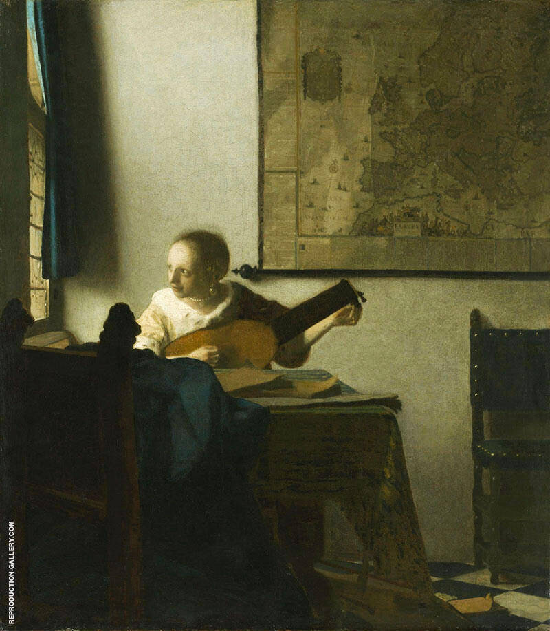 Woman with a Lute Near a Window c1664 Painting By Johannes Vermeer