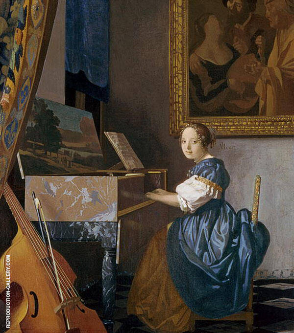 A Lady Seated at the Virginal c1673 Painting By Johannes Vermeer