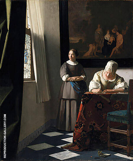 Lady Writing a Letter with Her Maid c1670 By Johannes Vermeer Replica Paintings on Canvas - Reproduction Gallery