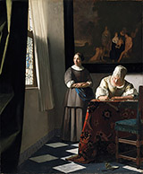 Lady Writing a Letter with Her Maid c1670 By Johannes Vermeer