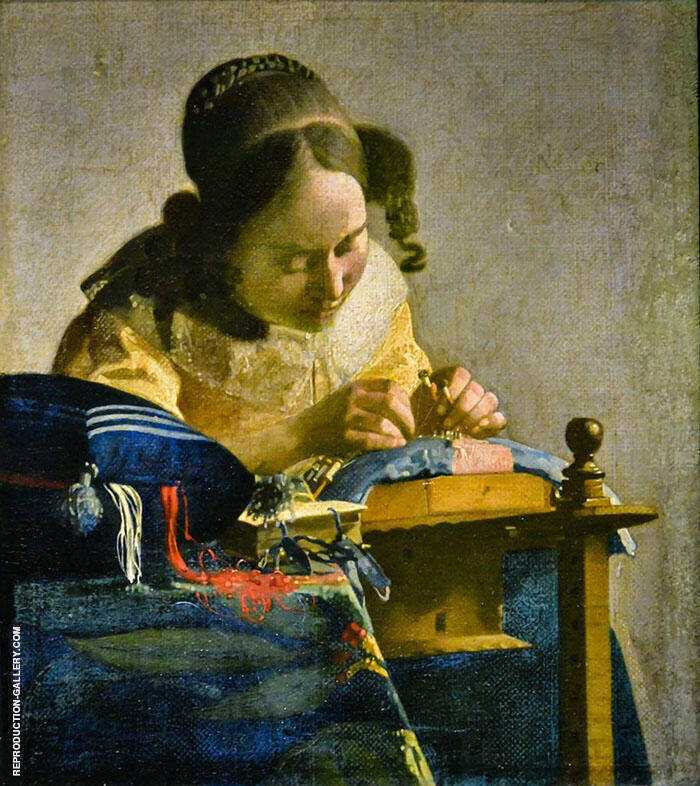 The Lacemaker c1669 By Johannes Vermeer Replica Paintings on Canvas - Reproduction Gallery