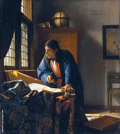 The Geographer 1669 Painting By Johannes Vermeer - Reproduction Gallery