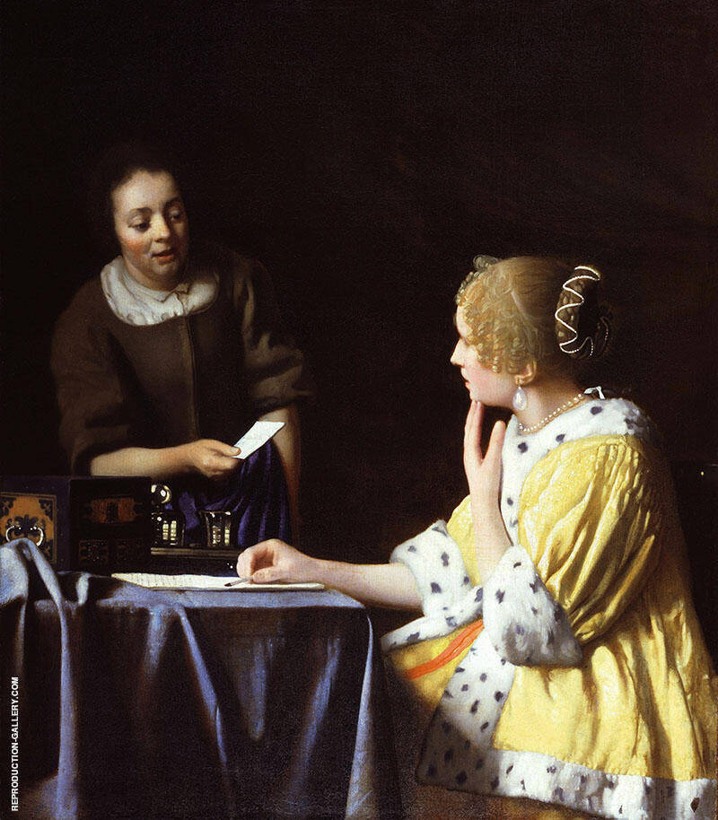 Lady a Maidservant Holding a Letter c1667 By Johannes Vermeer Replica Paintings on Canvas - Reproduction Gallery