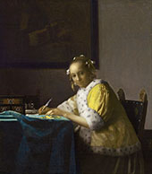 Writing Lady in Yellow Jacket 1666 By Johannes Vermeer