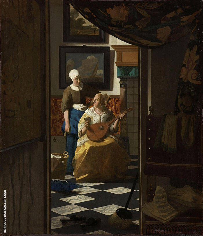 The Love Letter c1669 Painting By Johannes Vermeer - Reproduction Gallery