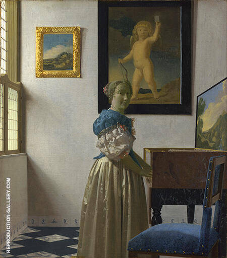 Lady Standing at a Virginal 1670 Painting By Johannes Vermeer