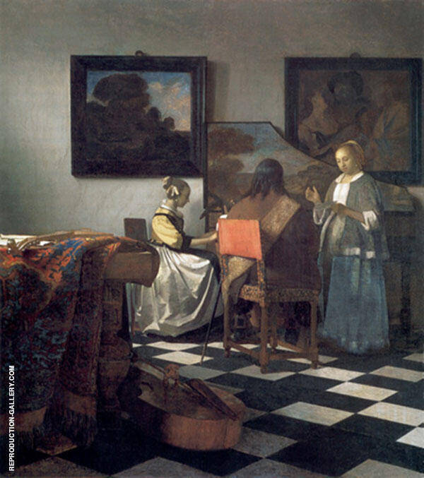 The Concert c1665 Painting By Johannes Vermeer - Reproduction Gallery