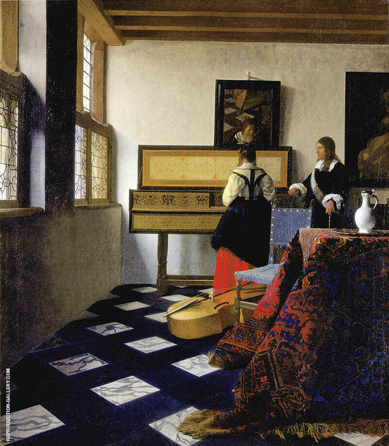 The Music Lesson c1662 Painting By Johannes Vermeer - Reproduction Gallery
