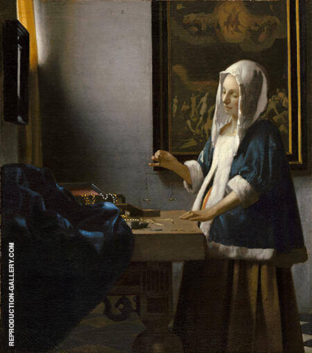 Woman Holding a Balance c1664 By Johannes Vermeer Replica Paintings on Canvas - Reproduction Gallery