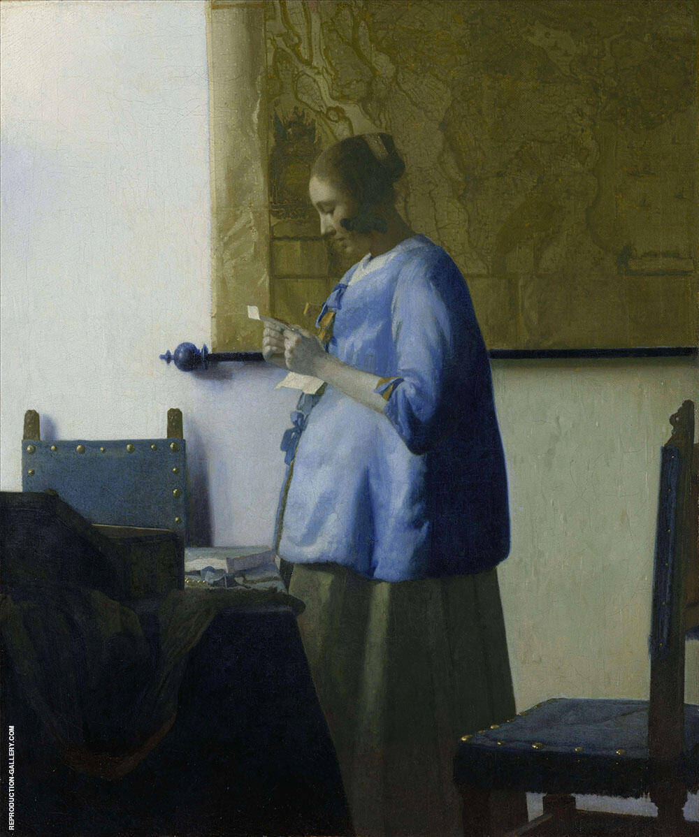 Woman in Blue Reading a Letter c1662 Painting By Johannes Vermeer
